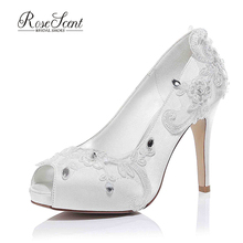 Ivory Satin mesh Close-toe Pearls flower women Wedding Dress Bridal Shoes