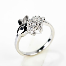 Wholesale Silver Ring Platinum Plated Round CZ Cut Diamond Rings Cute Rabbit Ring