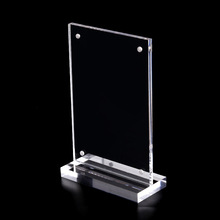 manufacturer supplies acrylic A4 double-sided display stand of strong magnetic platfoprm to sign the organic glass t-shaed
