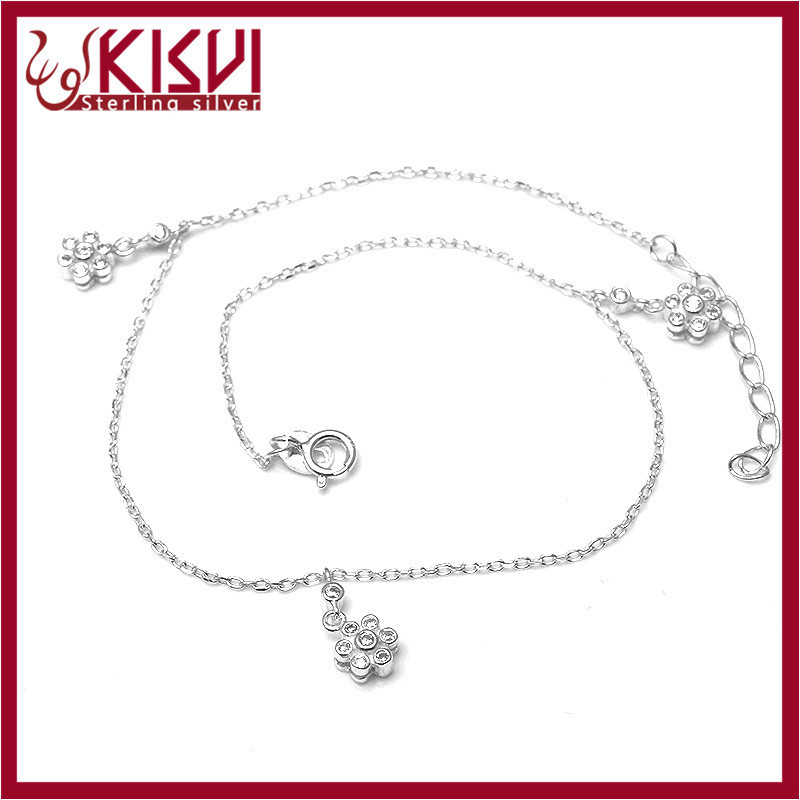 Real flower bracelet 925 sterling silver jewelry Anklet