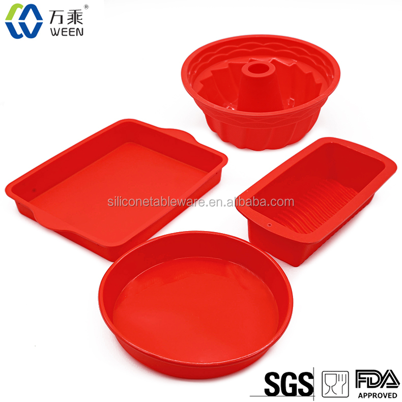 <strong>Silicone</strong> Bake Set - 4 Nonstick <strong>Silicone</strong> Bakeware - Round, Square, and Rectangular Shaped
