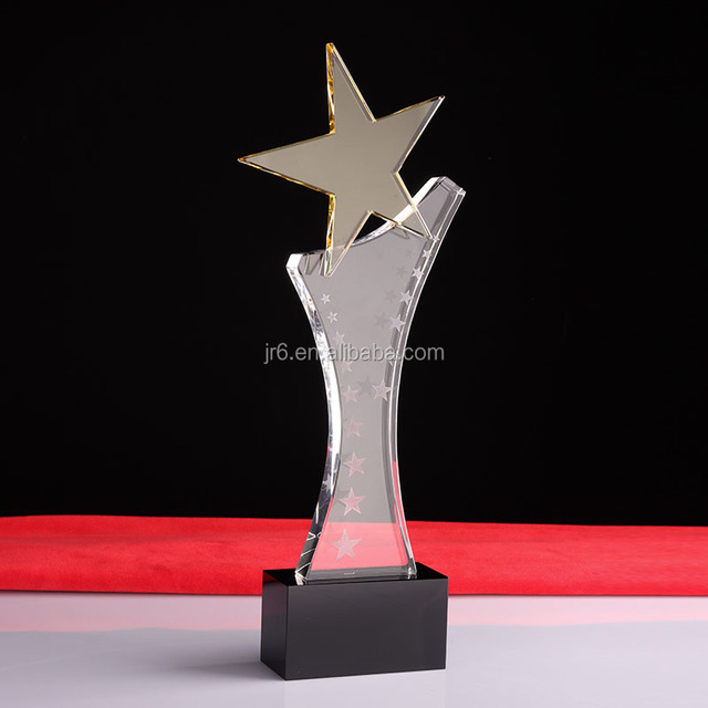 Pujiang Manufacturer Blank crystal trophy glass plaque Star awrads with custom logo engraving logo