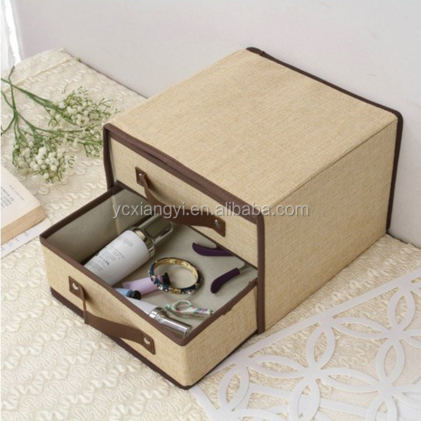 Foldable Coffee Oxford Cute Organizer Box , Folding Lightweight Home Collection Drawer