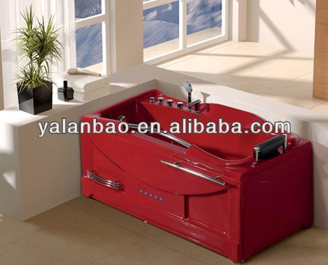 red acrylic whrilpool spa bathtub for one person long shape indoor tub