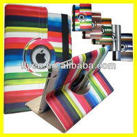 Multi-Color Striped 360 Rotating Cover Case for iPad Air iPad 4 3 2 iPad mini