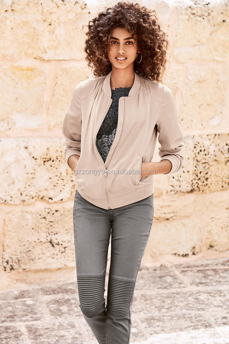 100% Polyester factory women bomber Jacket, plain pattern ladies jacket with zipper