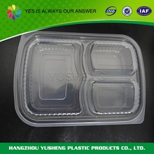 Disposable 3 compartment plastic food container,take away bento lunch box
