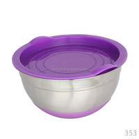 stainless steel gasket seal conatiner steel mixing bowl with lid steel air tight bowl with lid and silicon base