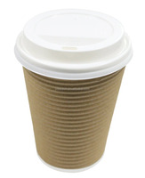 Disposable Insulated Ripple Hot Coffee Paper Cup with Lids