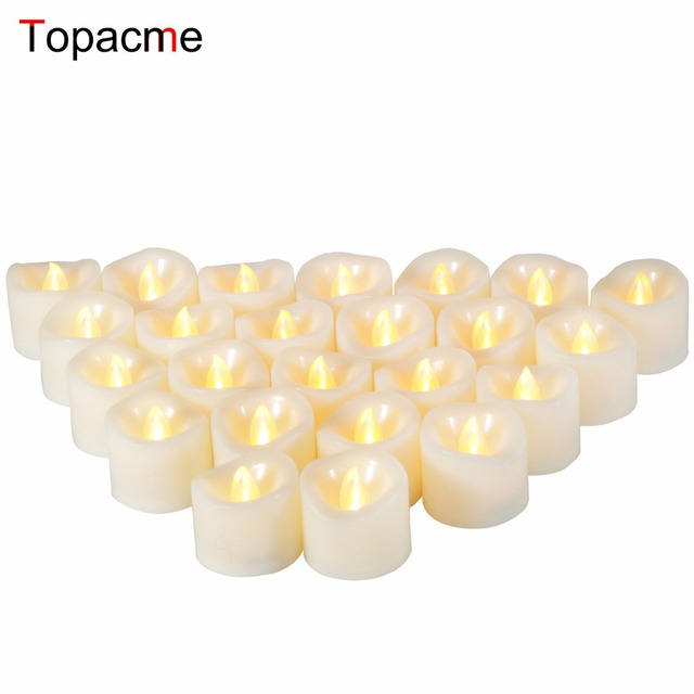 24Pcs Yellow Candles for Christmas Halloween Decorate Led Flameless Tealights Candles