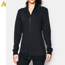 Plus size women clothing custom zipper hoodie black thin hoodies