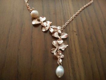 Fashion Orchid Lariat silver,gold and rose gold plated Necklace Jewelry
