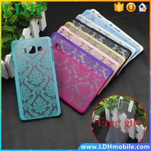 For Samsung Galaxy A3 A3000/A5 New Rubberized Retro Damask Pattern Engraved Matte Case pc filp Cover with+free protective film