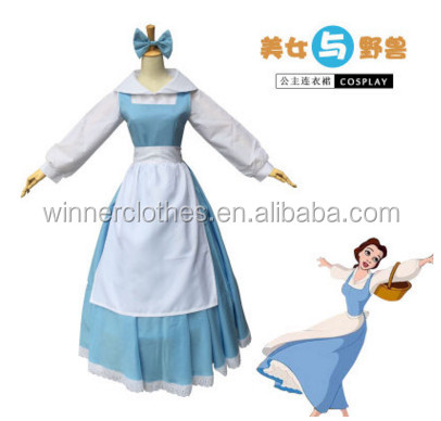 Winner Beauty beast belle blue maid dress the princess dress cosplay dress For costumes performance