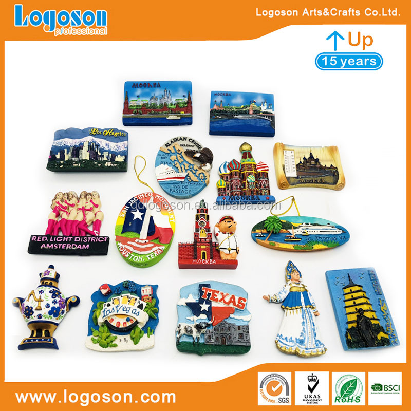 Best Quality Custom Plates for Country Charms Moscow Souvenir Plate with Stand Printed 3D Polyresin Building Landmark Plate