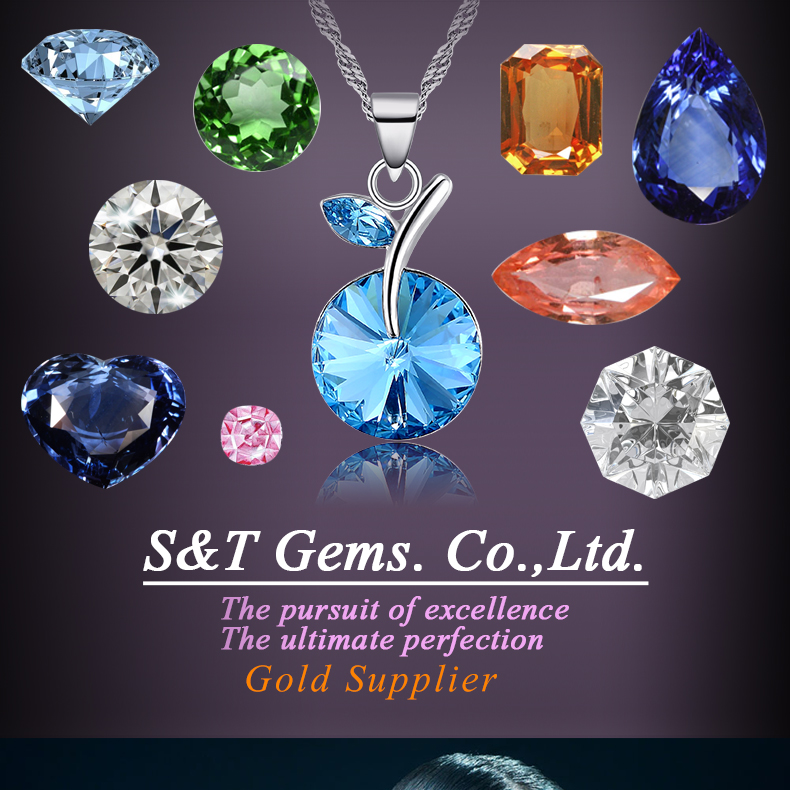hot sale gems Aquamarine trillion blue cz aaaaa gemstone