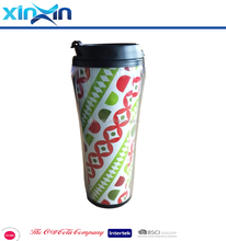 Custom Travel Mug, Plastic insulated double walled coffee mugs, Coffee Mug with Color Paper Insert