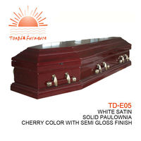 TD-E05 Most popular European style handmade wood coffin furniture