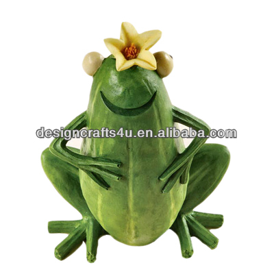 Flower on Frog's Head Funny Animal Statues Resin