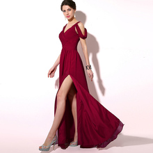 A-Line Cap Sleeve Sexy Slit Evening Gown Simple Pleat Burgundy Prom Dresses