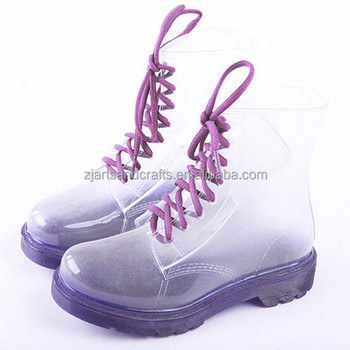 2014 Wholesale purple transparent fashion rain boot pvc ankle martin boot plastic rain boot