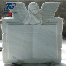 Marble carved weeping angel headstone book design monument tombstone