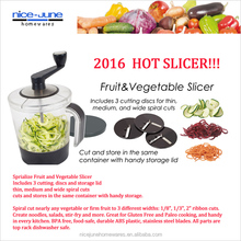 2016 Hot selling food safe spiral slicer Sprialize Fruit and Vegetable Slicer
