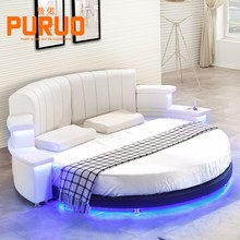 B060#2017 genuine leather round bed music bed with LED light
