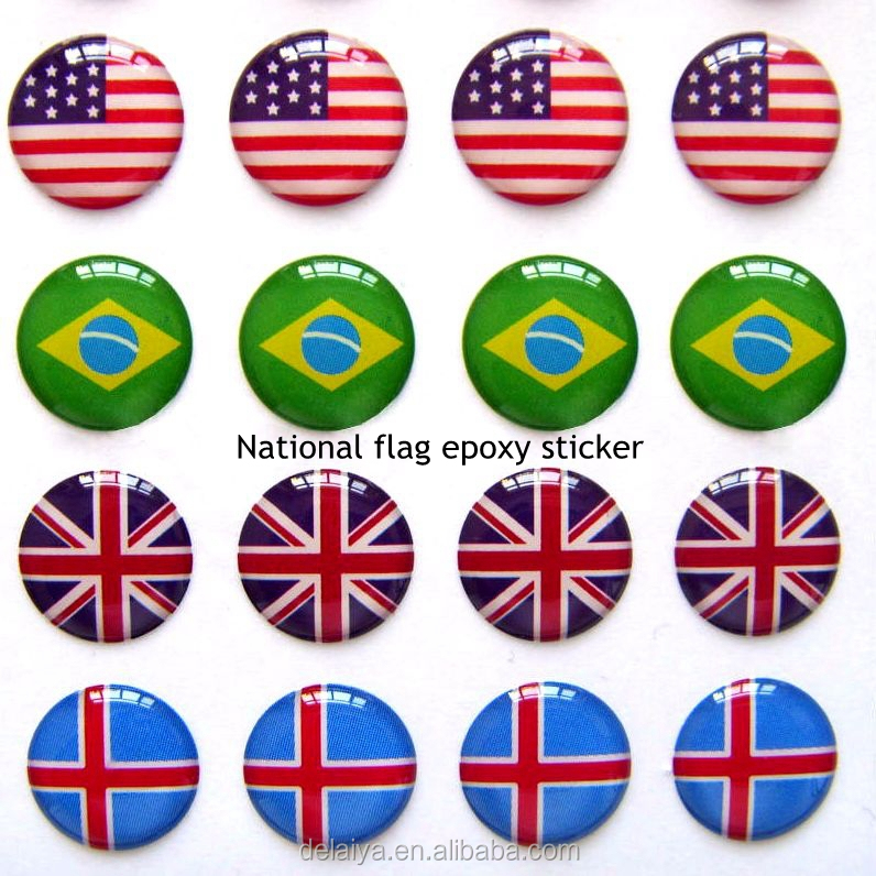 National flag epoxy sticker,resin sticker,dome sticker as a gift for national day