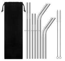 Bar Accessories Carry Bag pcked stainless steel straw set with brush