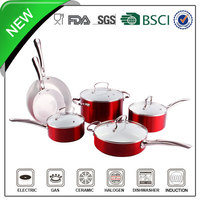 Red metallic coating 8pcs enamel cast iron kitchenware