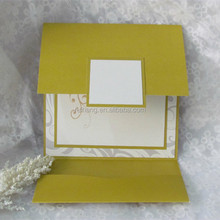 floral printing paper wedding invitation card with pearl decoration and pocket folders