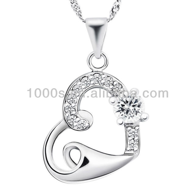 Hot sale silver heart pendant jewelry supply for stock