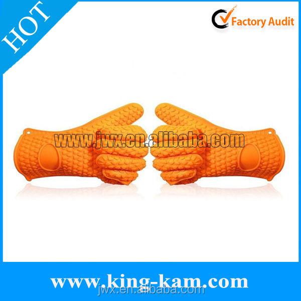 manufacturer Best Selling Products Heat Resistant Bbq Silicone Gloves With 5 Fingers resist heat glove with long sleeve