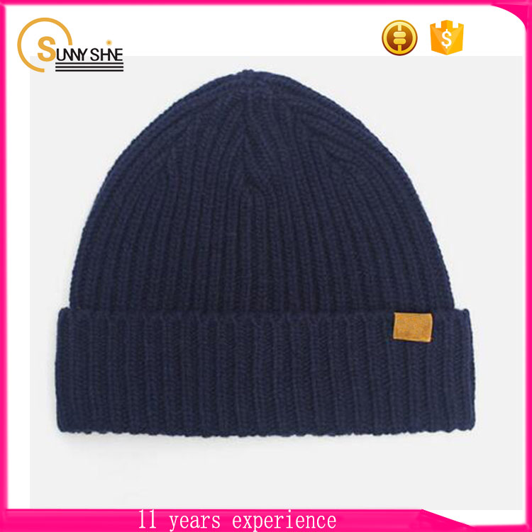 Sunny shine winter keep warm simple pattern 100% cotton custom beanie Knitted hat