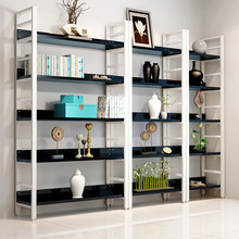 Simple Steel Wooden Bookshelf Living Room Storage Storage Simple Modern Shelf Shelves Shelves Floor Wall Racks Wrought Iron Ware