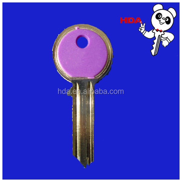 brass key blank with pink plastic sell well in american