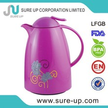 Promotional the best 1.5l printed glass jug&glass pitcher with plastic lid & handle for airline