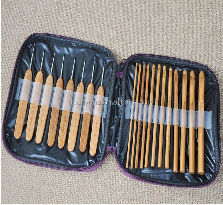 20pcs bamboo crochet hook set with purple PU case