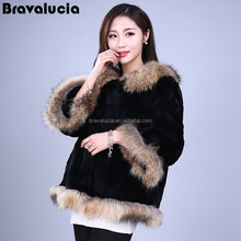 Stable Quality Jacket Long Style Blue Winter Coat rabbit Cheap Fur Coats with natural raccoon collar