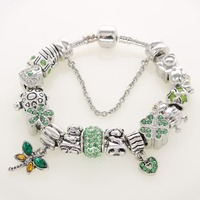 Wholesale Green Color Antique Silver Charms Dragonfly Boy Girl DIY Beads Bracelets for Holiday Fashion Jewelry Gifts