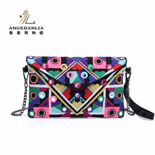 Women Ladies Ethnic Style Handbag Purse Wallet With Chain Retro Canvas Embroidered Change Coin clutch bag