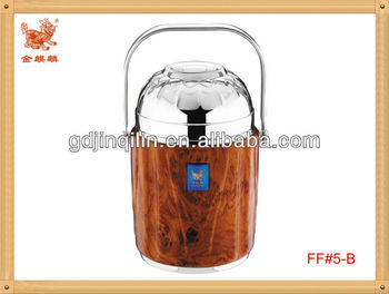wooden coating with bowl cover stainless steel food container (FF#5-B)