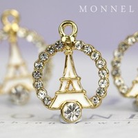 H486-1 Monnel Fashion Style French Eiffel Tower Paris France Circle of Love Round Metal Charm Necklace Pendant