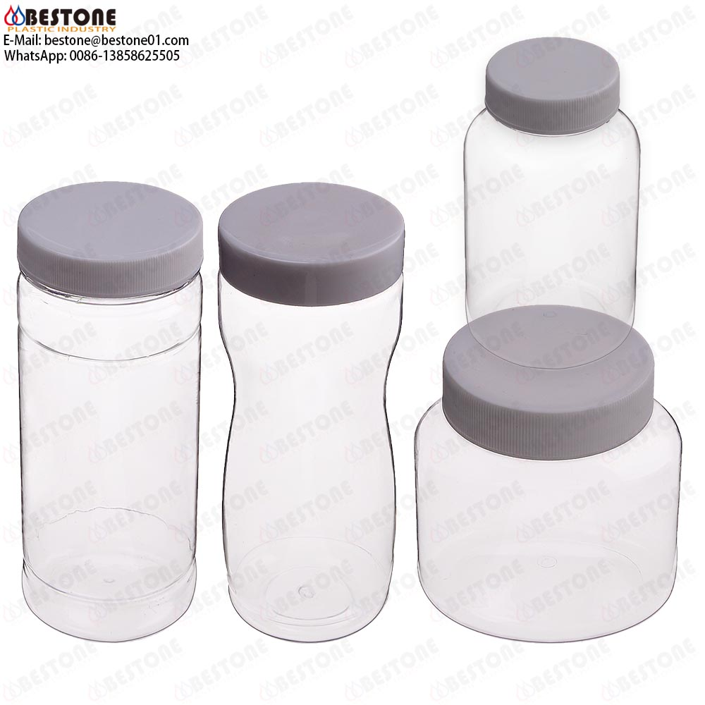PET clear plastic round wide-mouth jars wide mouth plastic bottles