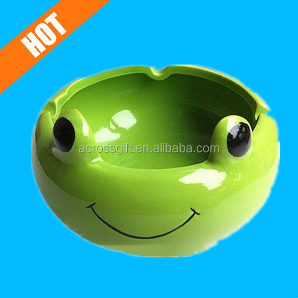personalized green color glazed ceramic frog ashtray