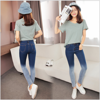 2016 Korean style simple plain elasticity long jeans