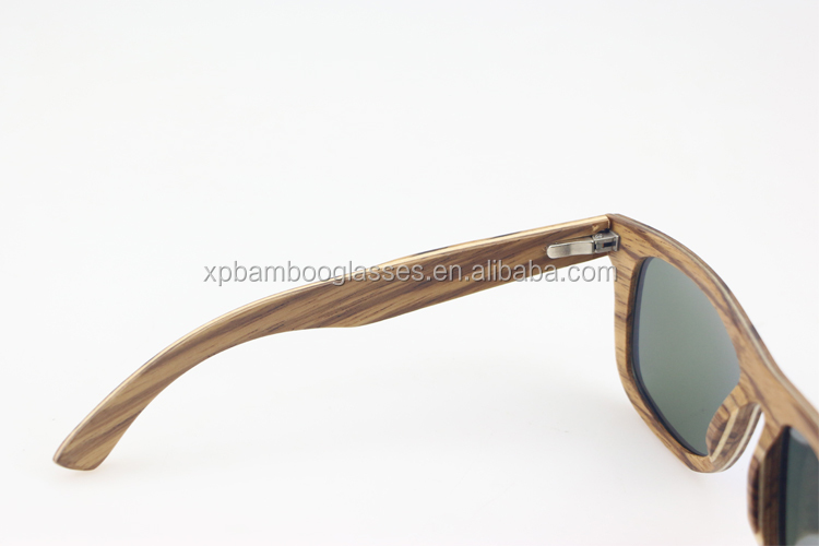 OEM Eco FSC certified Zebra Wooden Sunglasses With Blue Mirror Polarized Lens