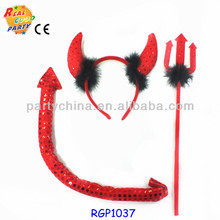 Halloween wholesale devil horn headband with tail& wand kit