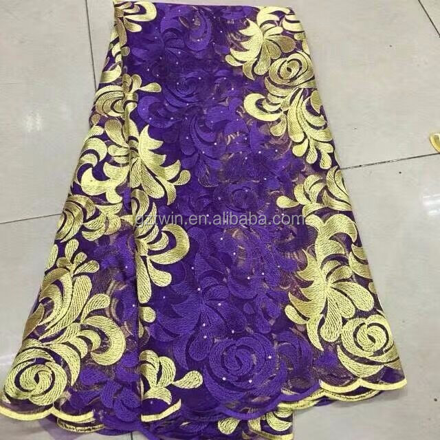 Fashion design turkish embroidery purple bridal african lace fabric for gown